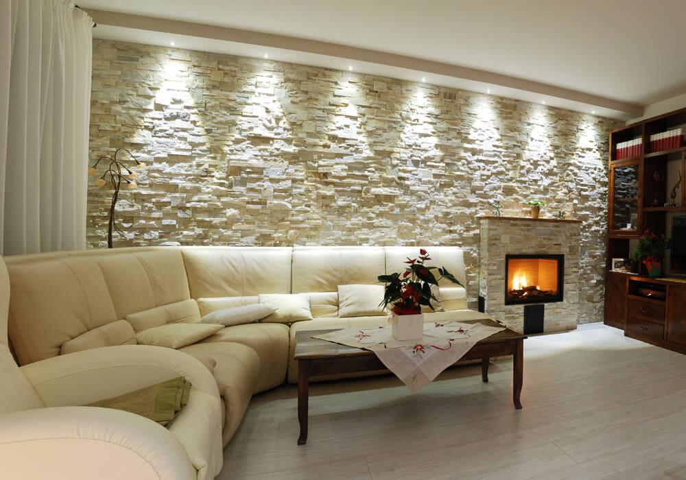 Illuminazione soggiorno con faretti protezioneazienda